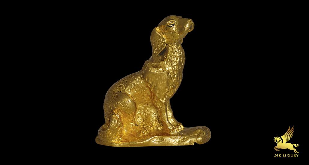 Linh vật phong thủy mạ vàng - Chó mạ vàng 24k