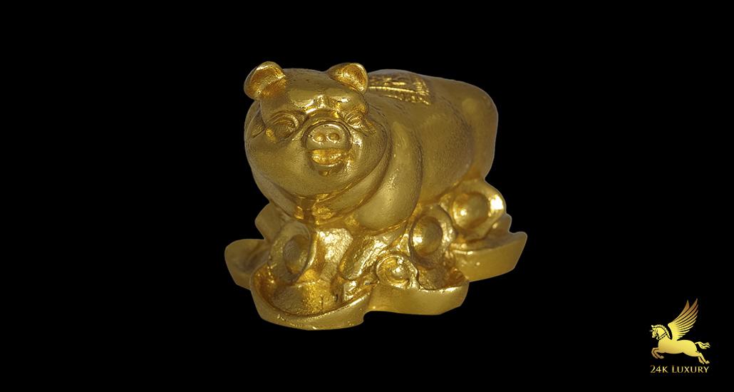 Linh vật phong thủy dát vàng  - Tượng Lợn mạ vàng