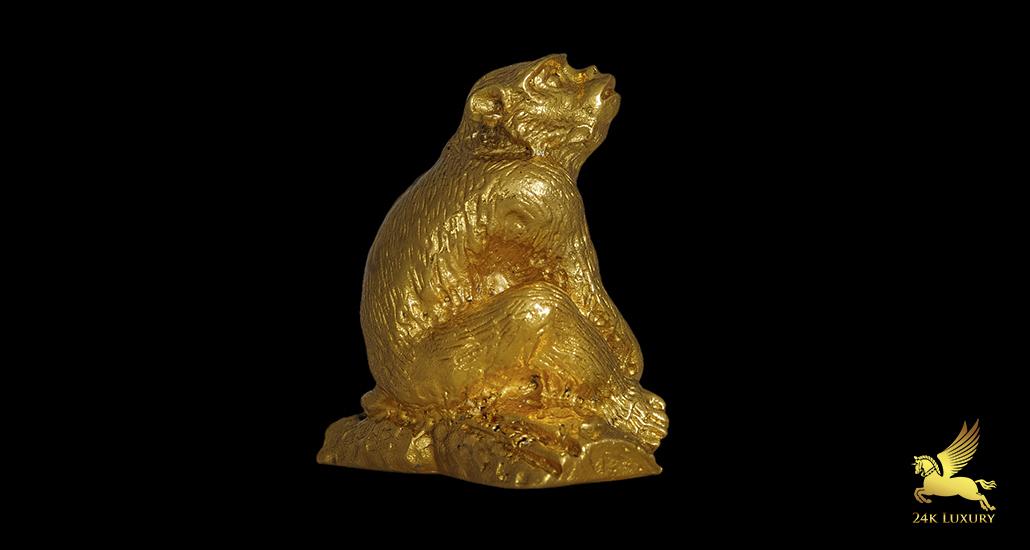 Tượng 12 con giáp dát vàng - Tượng khỉ dát vàng