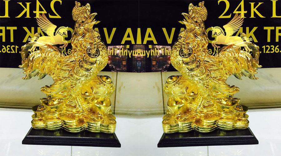 Tượng gà như ý mạ vàng - Vina Gold Art
