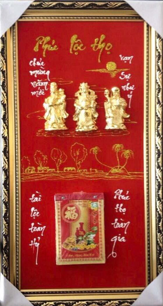 Lịch Tết mạ vàng với hình ảnh Tượng Phúc Lộc Thọ
