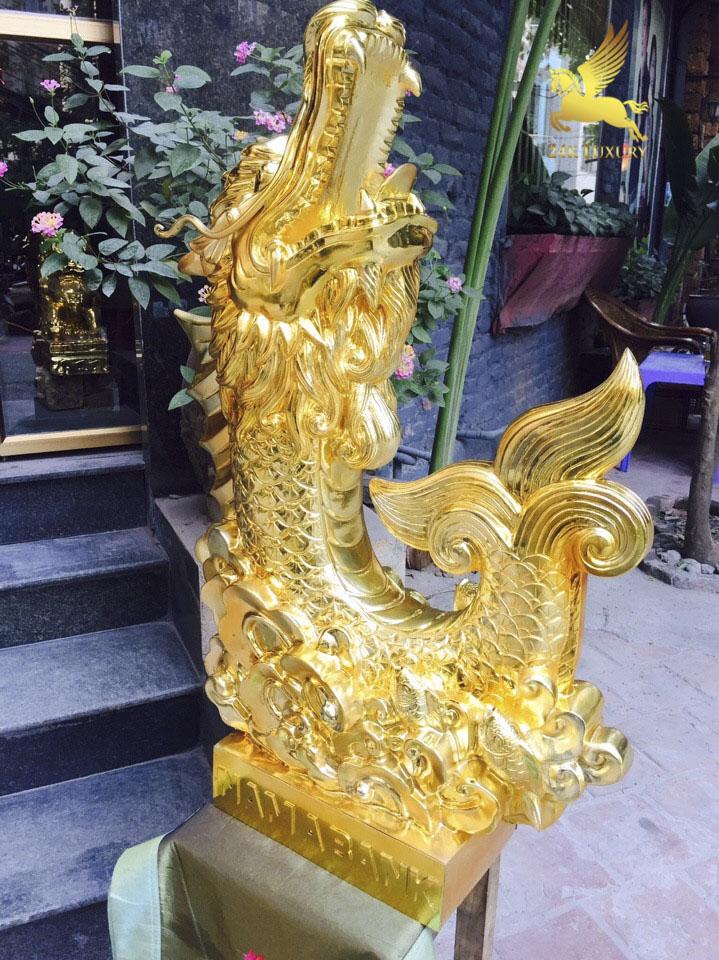 Tượng Cá chép Hoá rồng PHun vàng- Sản phẩm quà tặng có ý nghĩa đặc biệt