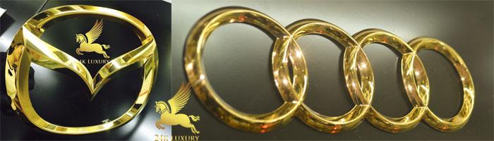 Logo ô tô mạ vàng tạo nên điểm nhấn đặc biệt cho những sản phẩm này
