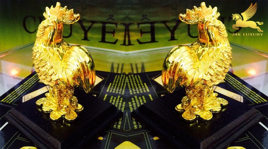 Tượng gà kim kê mạ vàng- Vina Gold Art