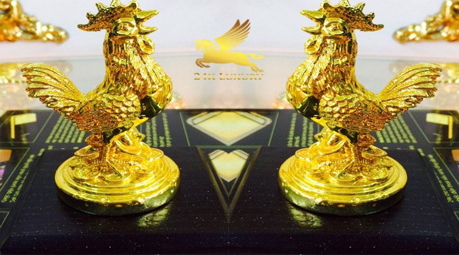 Tượng trống nhỏ kê mạ vàng- Vina Gold Art